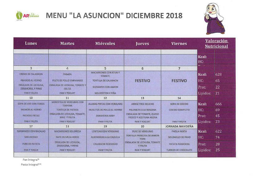 Menú del comedor escolar diciembre 2018