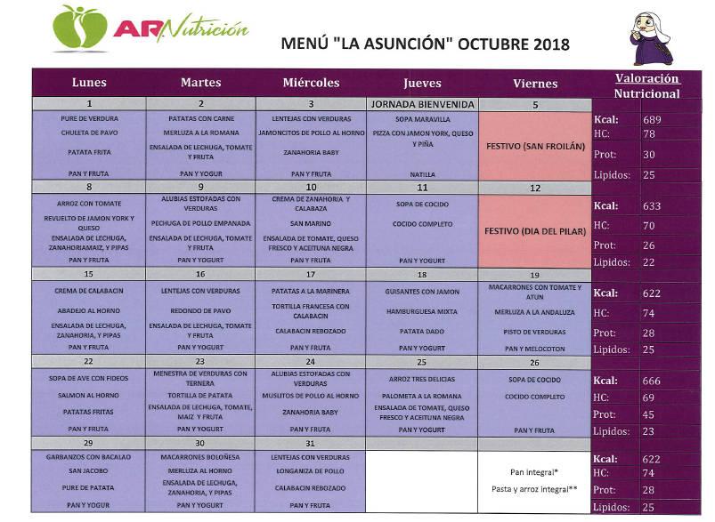 Disponible el menú de comedor escolar para octubre de 2018